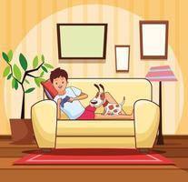 Adolescente com videogame e cachorro dos desenhos animados vetor