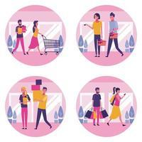 Conjunto de pessoas, fazer compras no shopping