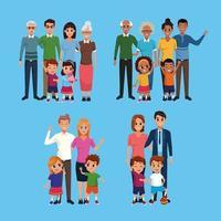 Família conjunto de coleção de desenhos animados vetor