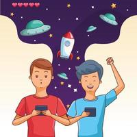 Adolescentes jogando videogame espacial