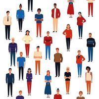 Desenhos animados de padrão de fundo de pessoas vetor
