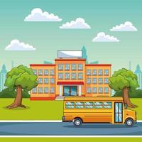 Edifício escolar e ônibus escolar ao ar livre