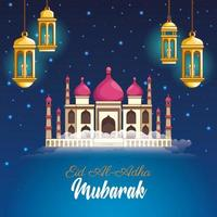 Festival de Mubarak dos muçulmanos com lanternas e mesquita à noite vetor
