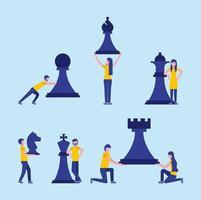 conceito de conjunto de xadrez de pessoas de negócios