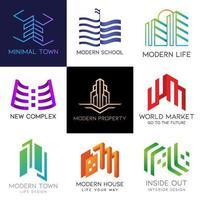 Vetor de logotipo mínimo imobiliário.