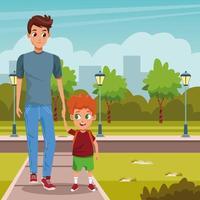 pai e filho caminhando para o primeiro dia de aula