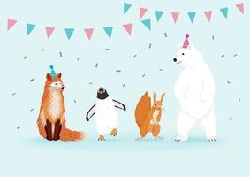 Conjunto de animais de inverno. Felizes animais selvagens na festa.