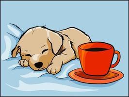 Filhote de retriever, tirando uma soneca nos lençóis ou travesseiro na cama vetor