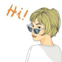 Mulheres com cabelo curto, usando óculos escuros, estilo minimalista vetor