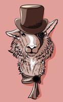 Lhama de cavalheiro com um chapéu de coco e um lenço. vetor