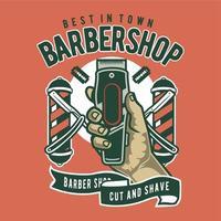 O emblema do estilo vintage de barbearia vetor