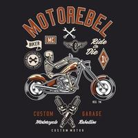 motorebel de esqueleto, motociclista de garagem personalizado vetor