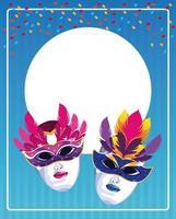 Máscara de carnaval em fundo listrado com cartão circular em branco
