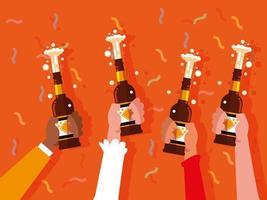 mãos com cervejas garrafas brindando a festa de comemoração vetor