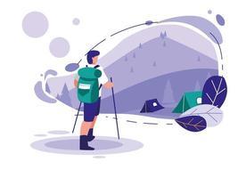 Paisagem com montanhas e homem esquiar vetor
