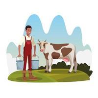 Agricultor com vaca e dois baldes fazenda paisagem rural vetor