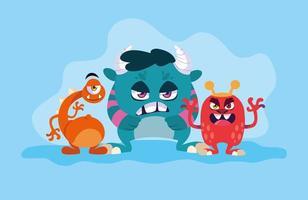 Grupo de design de desenhos animados de monstros vetor