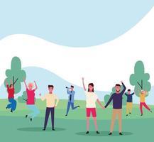 dançando pessoas avatar no parque vetor