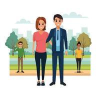 Casais jovens na paisagem do parque