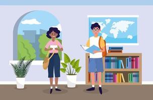 menina e menino com livro de educação na sala de aula