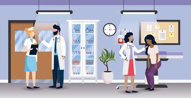 médicos profissionais de mulher e homem com enfermeira e paciente vetor