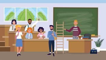 professor homem com os alunos na sala de aula da universidade vetor
