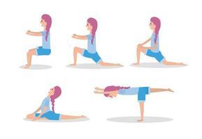 conjunto mulher prática yoga exercícios pose