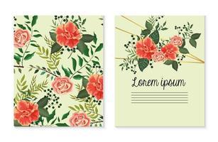 conjunto de cartão com plantas de rosas com folhas