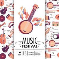 banjo e instrumentos para evento festival de música vetor