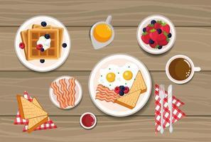 waffles com ovos fritos e pão fatiado
