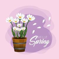 plantas de flores da primavera com pétalas exóticas vetor