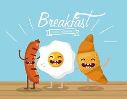 salsichas felizes com ovo frito e croissant vetor