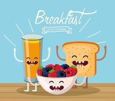 feliz suco de laranja com frutas e pão fatiado vetor