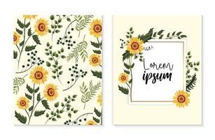 conjunto de cartão com girassóis exóticos e folhas de ramos vetor