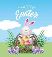 Coelho de Páscoa feliz com decoração de ovos vetor