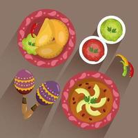 Conjunto de itens de comida tradicional mexicana vetor