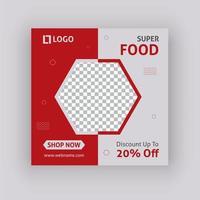 Design de modelo de postagem de mídia social super comida