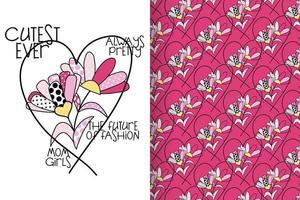 Flor desenhada de mão com conjunto padrão