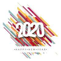 Feliz ano novo 2020 design de cartão vetor