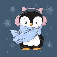 Pinguim em fones de ouvido e um cachecol vetor