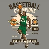 Jovem jogando basquete estilo vintage vetor