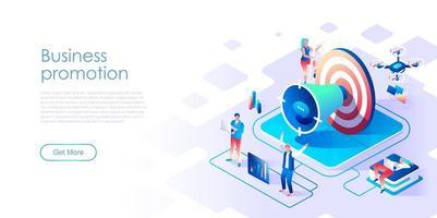 Página de destino isométrica de promoção de negócios com destino vetor