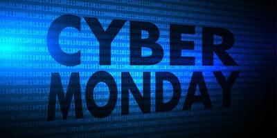 Banner de Cyber Monday com design de código binário vetor