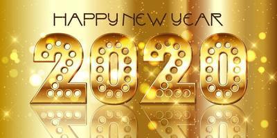 Feliz ano novo fundo com números decorativos de ouro vetor