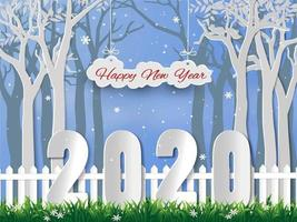 Feliz ano novo 2020 com fundo de temporada de inverno vetor
