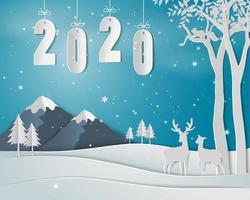Feliz ano novo com texto 2020, paisagem de inverno com família de veados vetor