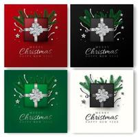 Feliz Natal e feliz ano novo cartão conjunto vetor
