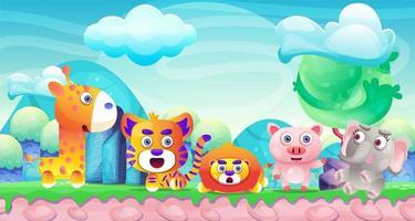 Animal selvagem dos desenhos animados na terra da fantasia vetor