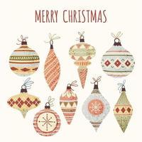 Coleção de bolas de árvore de Natal vetor