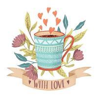 Xícara de café amor vetor